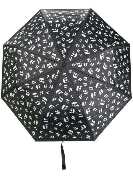Czarny parasol srebrny Karl Lagerfeld