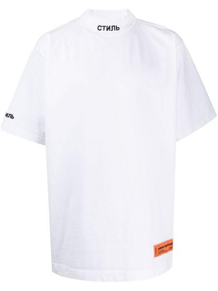 Bawełna prosto czarny koszula okrągły Heron Preston