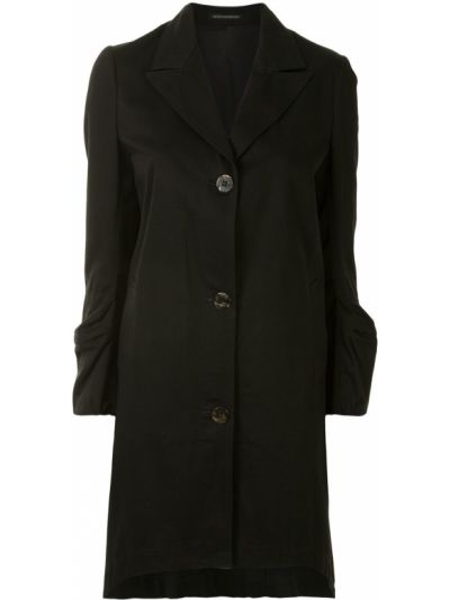 Черное пальто на пуговицах с лацканами с карманами Yohji Yamamoto Pre-owned