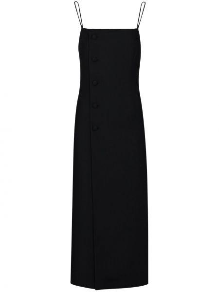 Шерстяное черное платье миди на пуговицах Matériel