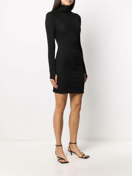 С рукавами черное платье макси из вискозы Ssheena