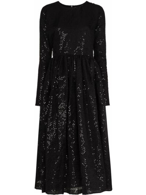 Черное платье миди с длинными рукавами из фатина Ashish
