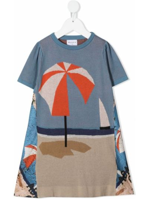 T-shirt z printem - niebieski Wolf & Rita