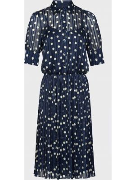 Платье на пуговицах - синее Luisa Spagnoli