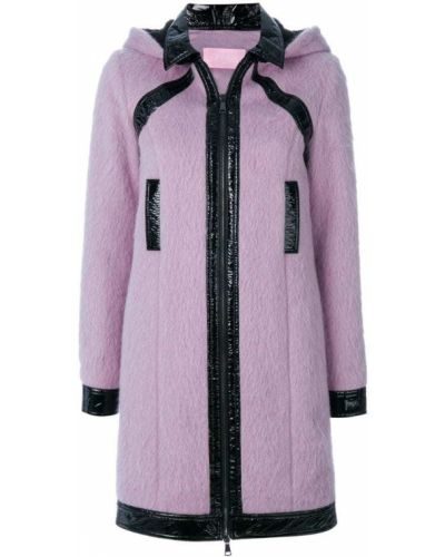Шерстяное розовое пальто с капюшоном Giamba