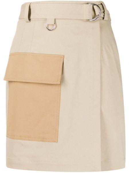 Хлопковая с завышенной талией юбка мини с запахом с карманами Msgm