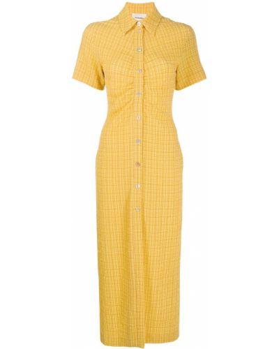 Желтое платье мини в клетку с короткими рукавами Nanushka
