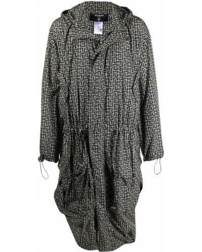 Czarny płaszcz przeciwdeszczowy z długimi rękawami z printem Balmain