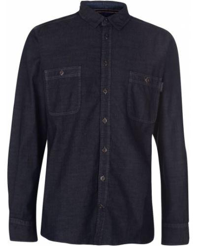 Niebieska koszula jeansowa bawełniana z długimi rękawami Pierre Cardin