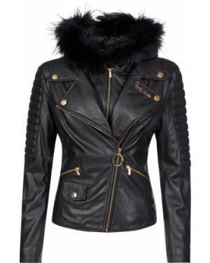 Кожаная куртка из полиэстера - черная Cavalli Class
