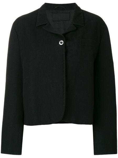 Кожаная куртка черная на пуговицах Prada Pre-owned