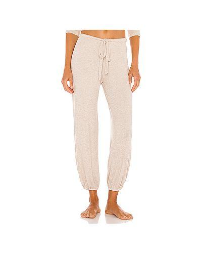 Шелковые брюки в рубчик Eberjey