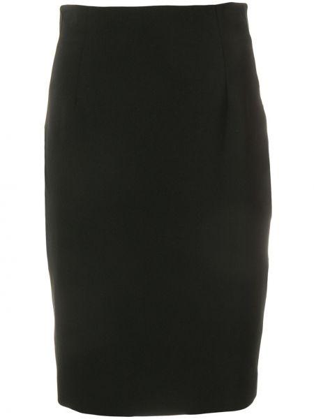 Черная с завышенной талией юбка миди на молнии из вискозы Versace Collection