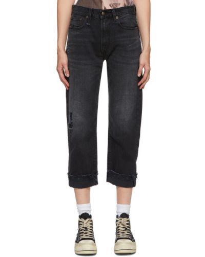 Черные джинсы бойфренды с манжетами стрейч с заплатками R13