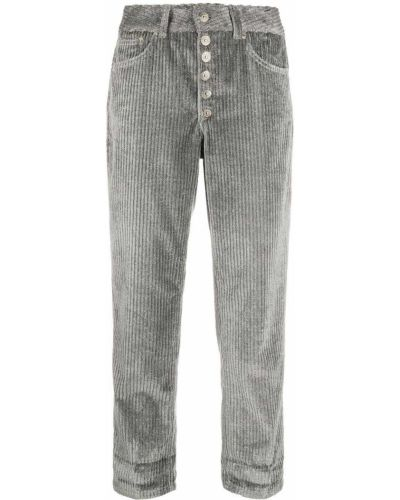 Серые укороченные брюки с поясом с высокой посадкой с заплатками Dondup