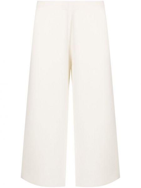 Брючные шерстяные укороченные брюки айвори Oyuna