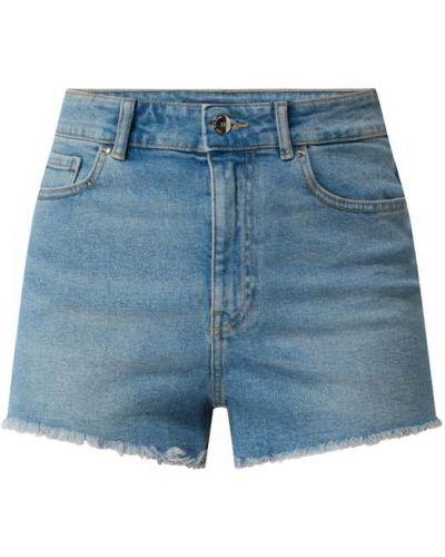 Niebieskie szorty jeansowe bawełniane z frędzlami Only