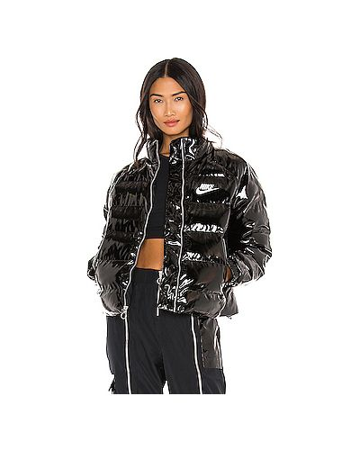 Черная кожаная куртка на молнии Nike