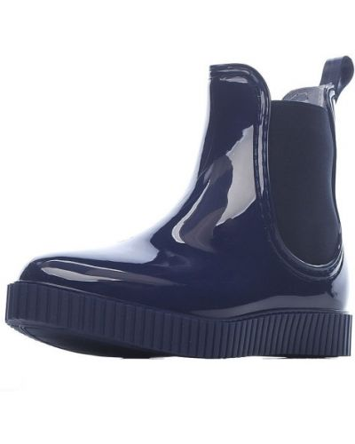 Синие текстильные ботинки без каблука Ana.r