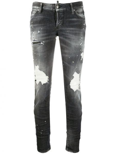 Черные джинсы варенки на молнии с поясом Dsquared2