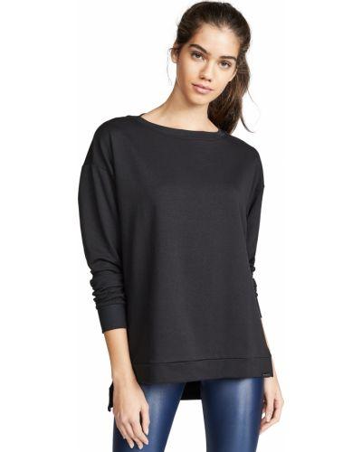 Хлопковый черный пуловер с длинными рукавами Koral Activewear