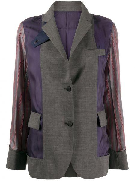 Шерстяной серый пиджак с карманами Sacai