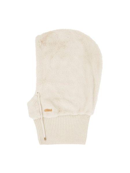 Prążkowany biały futro z kapturem Barts