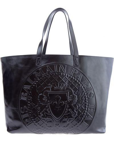 Кожаная сумка сумка-шоппер на молнии Balmain