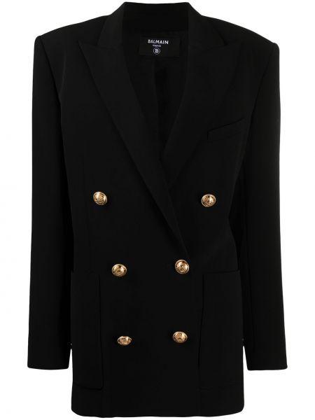 Черный удлиненный пиджак двубортный с подкладкой Balmain