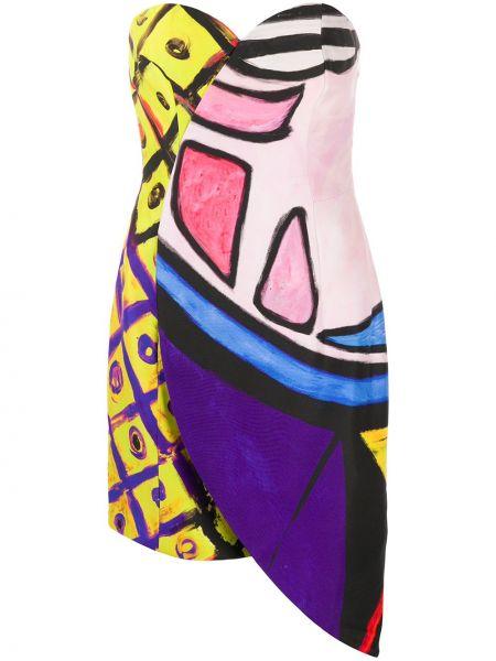 Облегающее платье на молнии с абстрактным принтом Moschino