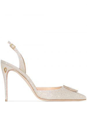 Золотистые с ремешком желтые туфли на каблуке с пряжкой Jennifer Chamandi