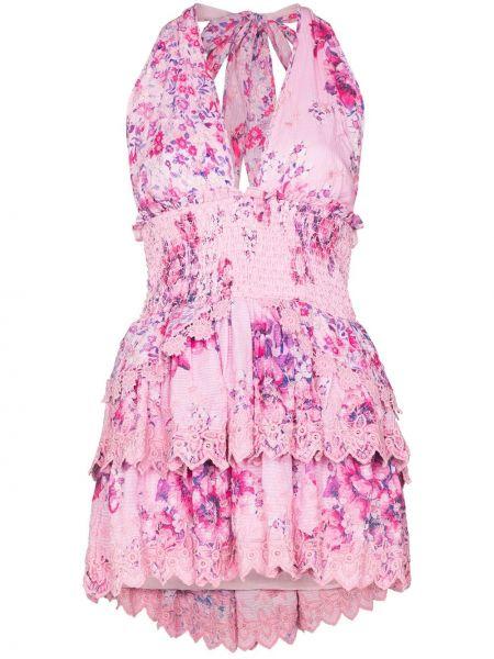Платье мини в цветочный принт - розовое Loveshackfancy