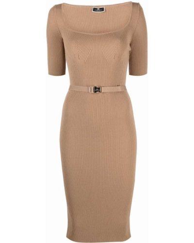 Платье миди с короткими рукавами - коричневое Elisabetta Franchi