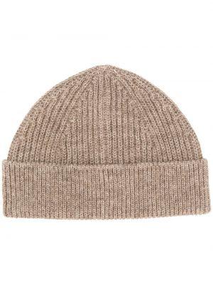 Шерстяная шапка бини в рубчик с отворотом Andersen-andersen