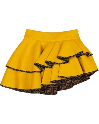 Żółta spódnica asymetryczna Fendi Kids