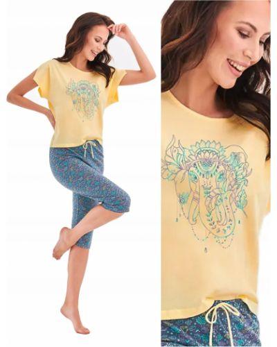 Żółta piżama bawełniana krótki rękaw Taro
