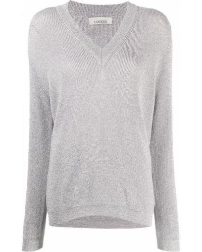 Z rękawami sweter z okrągłym dekoltem z wiskozy z dekoltem w szpic Laneus