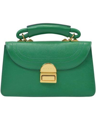Zielona torebka skórzana Marni