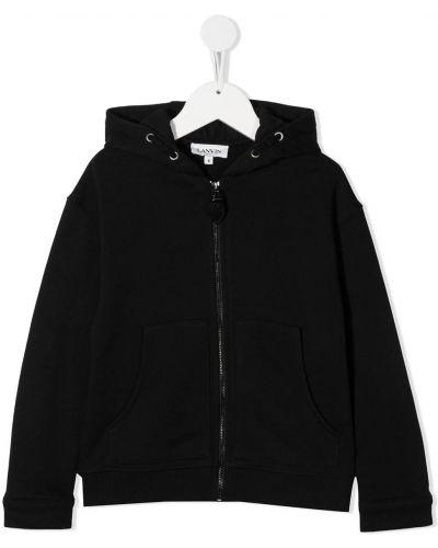 С рукавами черная куртка на пуговицах с капюшоном Lanvin Enfant