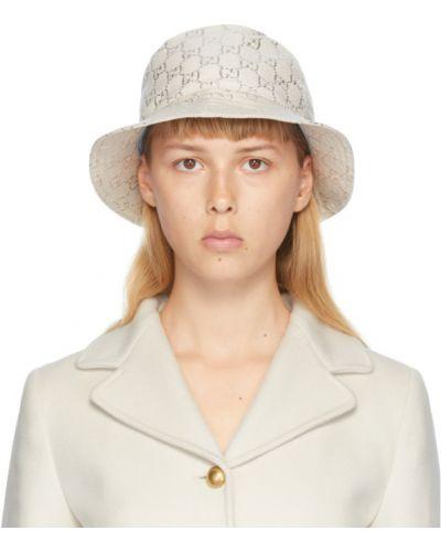 Шелковая белая шапка с подкладкой Gucci