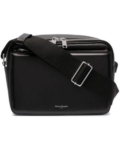 Черная кожаная сумка на плечо на молнии Maison Margiela