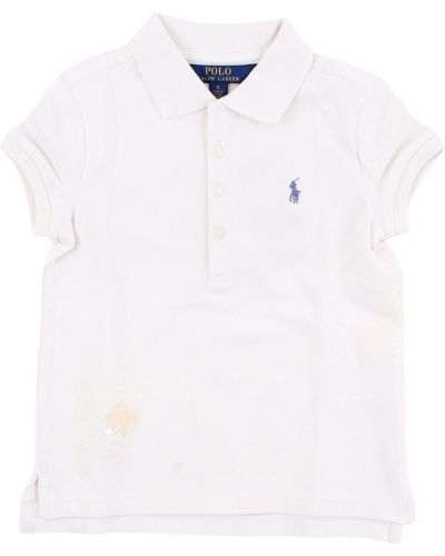 Biała koszulka z cekinami Polo Ralph Lauren