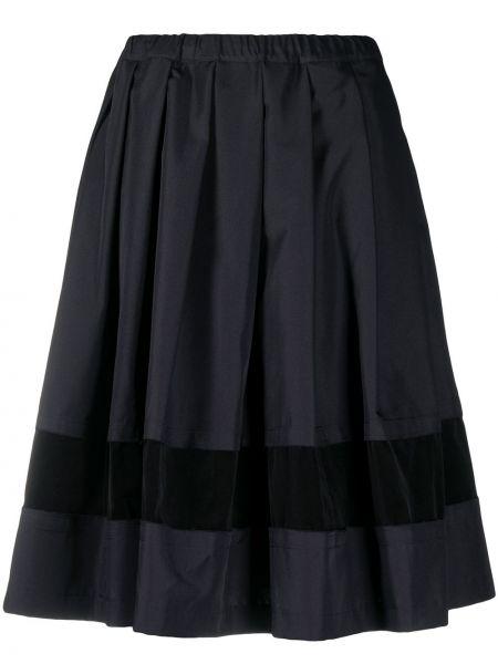 Хлопковая синяя юбка миди со вставками Comme Des Garçons Comme Des Garçons