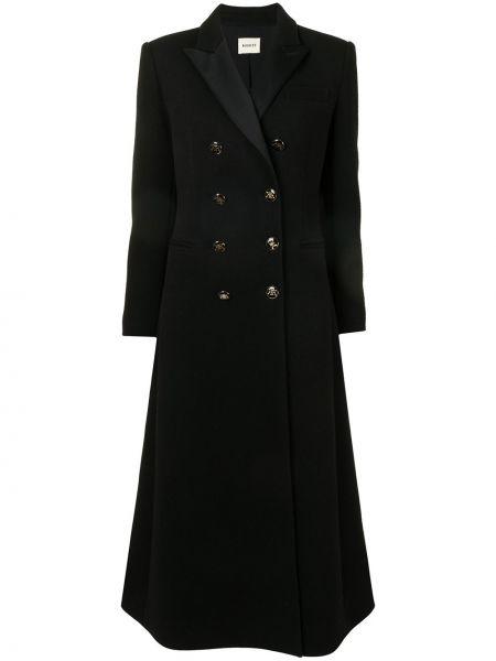 Черное длинное пальто двубортное на пуговицах Khaite