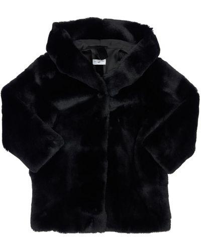Пальто с капюшоном на кнопках из искусственного меха с подкладкой Monnalisa