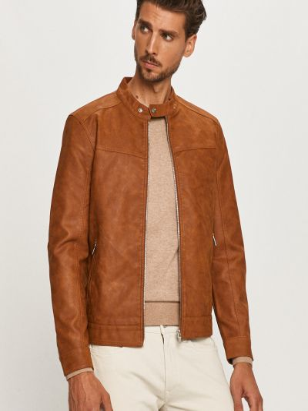 С рукавами коричневая куртка с карманами Only & Sons