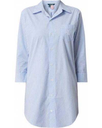 Bawełna koszula nocna na paskach z kołnierzem z kieszeniami Lauren Ralph Lauren
