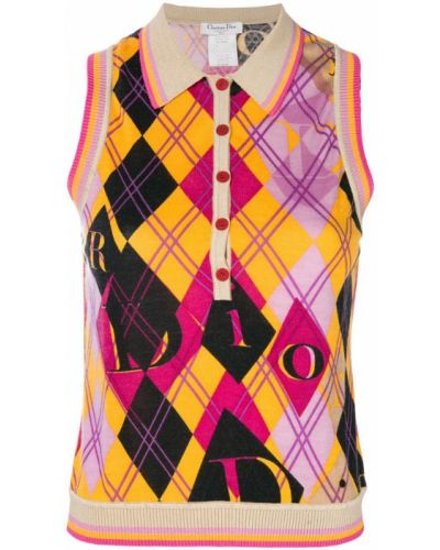 Майка шелковая в рубчик Christian Dior Vintage