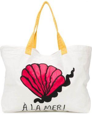 Хлопковая пляжная белая сумка с надписью Mini Rodini