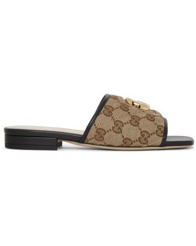 Skórzany czarny sandały prążkowany Gucci